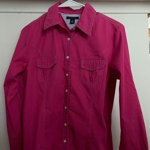 Tommy Hilfiger Hot Pink Button Up Size Medium